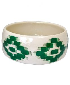 Bowl de cerámica blanca hecha a mano con diseño de telas mallorquinas